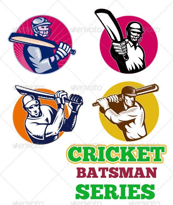 Cricket Player Batsman Batting Retro Style Set - Sports/Activity Conceptual