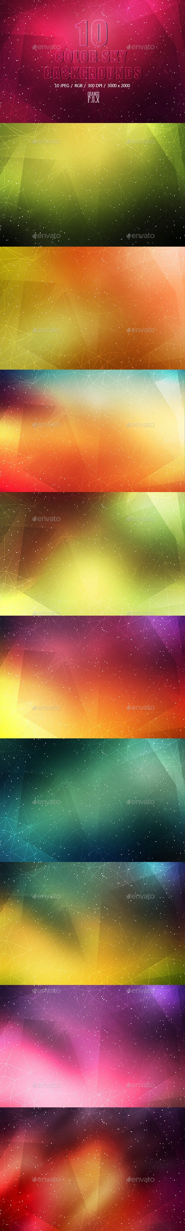 10 Color Sky Backgrounds - Abstract Backgrounds