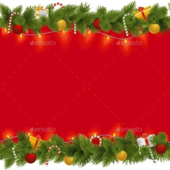 Vector Christmas Background with Garland - Christmas Seasons/Holidays
