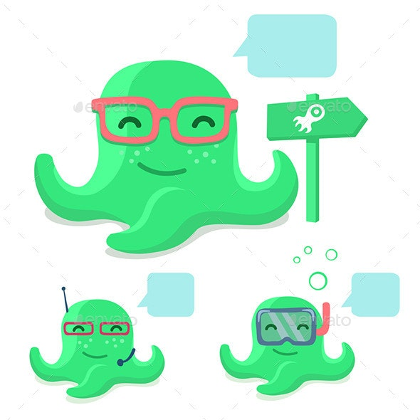 Smiling Octopus - Animals Characters
