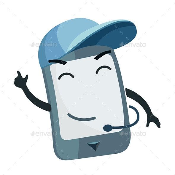 Phone Character wearing a Cap. - Characters Vectors