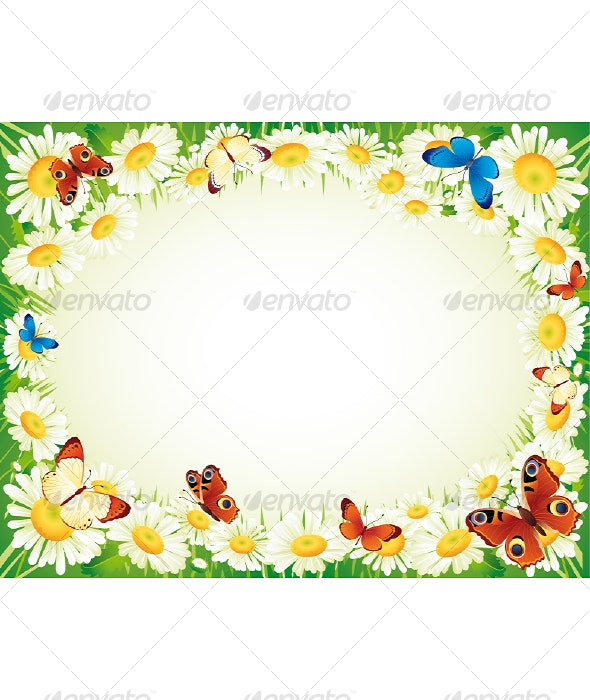 Butterfly and flowers - Borders Decorative