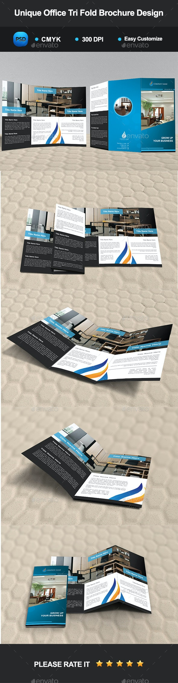 Unique Office Tri Fold Brochure Design - Corporate Brochures