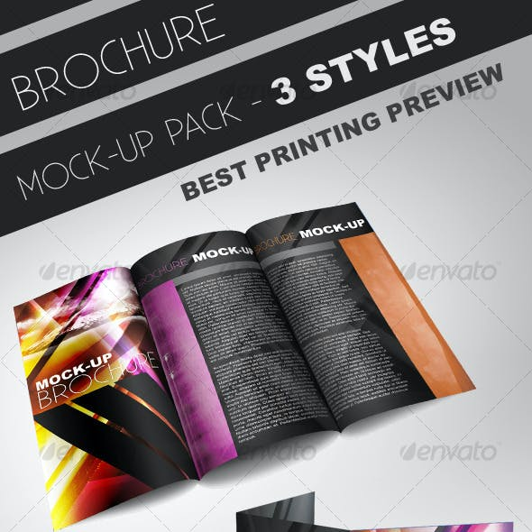 Tri-Fold Brochure Mock-up Pack - 3 Styles