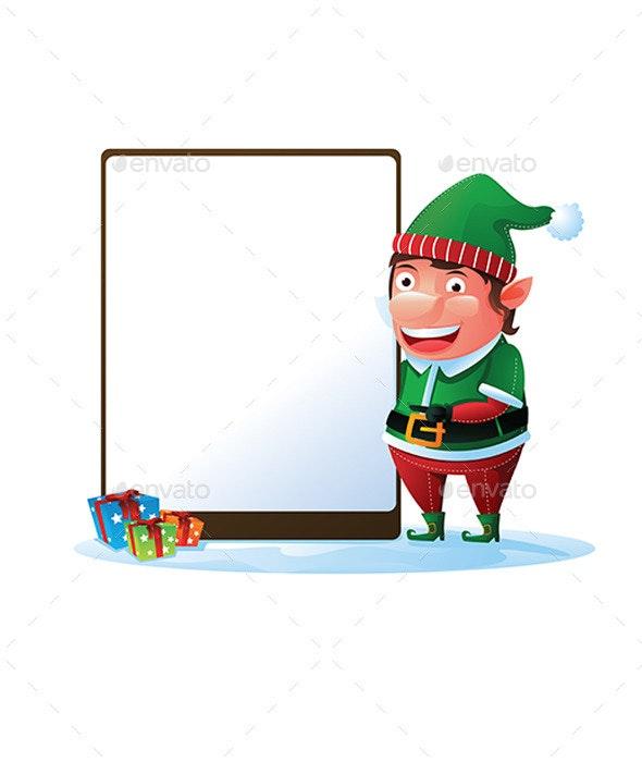 Elf Holding Sign for Christmas - Christmas Seasons/Holidays