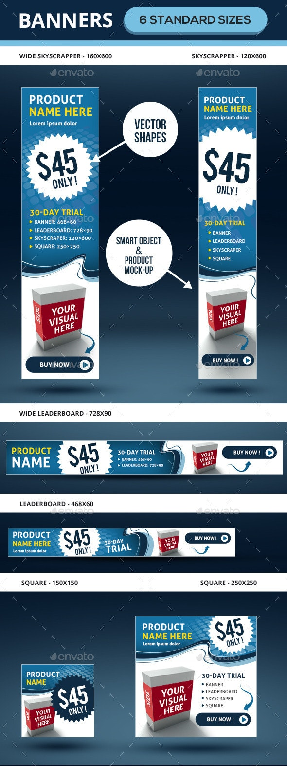 Marketing Ad Banners In 6 Sizes - Banners & Ads Web Elements