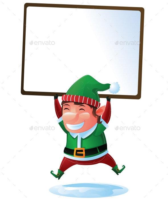 Happy Elf with Sign for Christmas - Christmas Seasons/Holidays
