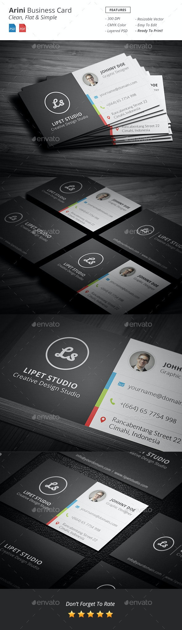 Arini - Clean Business Card Template - Corporate Business Cards