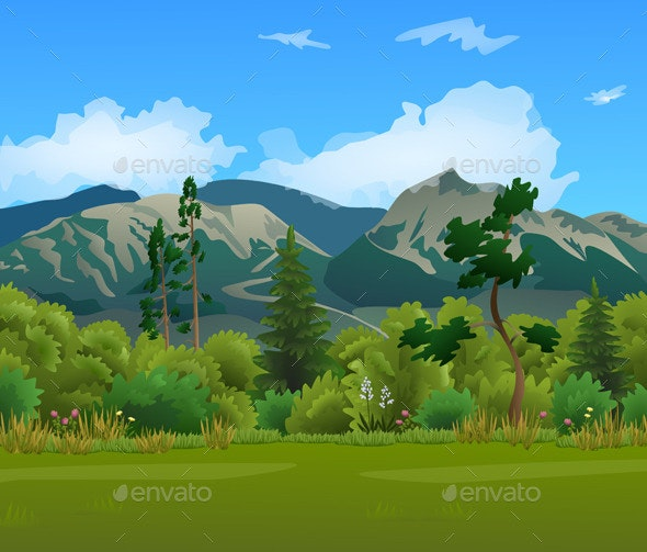 Mountain Landscape with Forest - Landscapes Nature