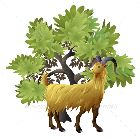 Goat with Tree - Animals Characters