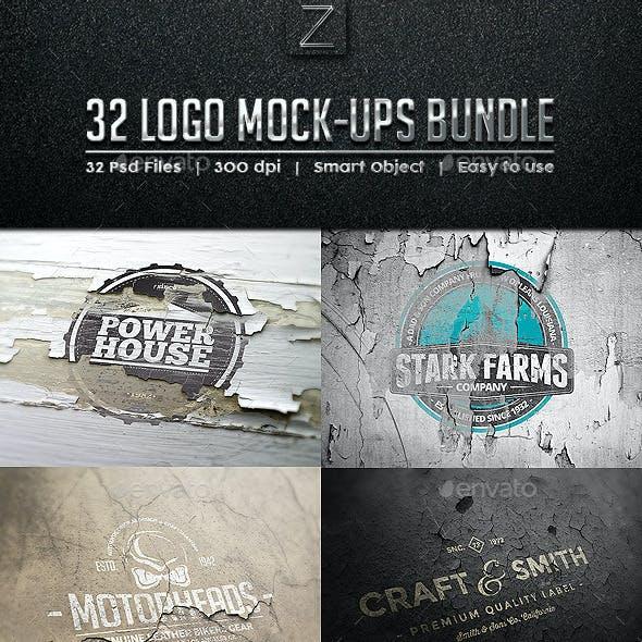 32 Logo Mock-ups Bundle