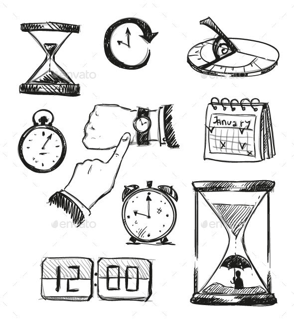 Sketch of Time Symbols - Concepts Business