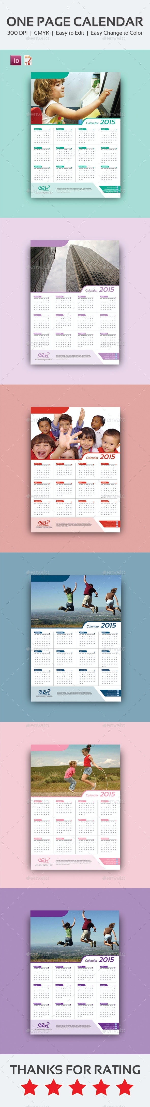 One Page Calendar Design  - Calendars Stationery