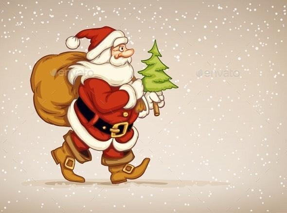 Santa Claus Walking with Sack of Gifts - Christmas Seasons/Holidays