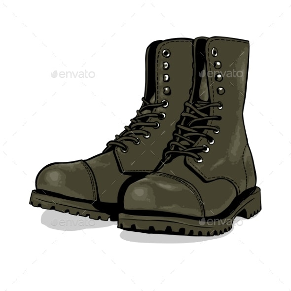 Cartoon Army Boots - Man-made Objects Objects