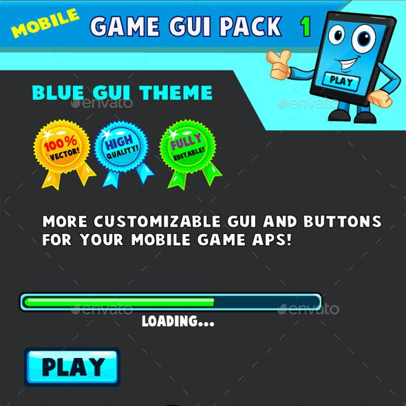 Mobile games GUI Pack-1  Blue theme