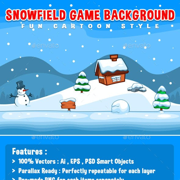 Snowfield Game Background - Fun Cartoon Style