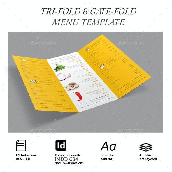 TriFold & Gate Fold Restaurant Menu Pack Vol.01