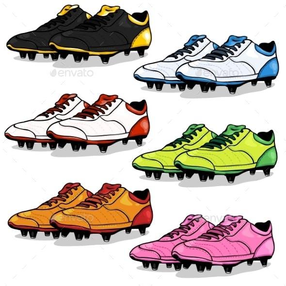 Set of Cartoon Soccer Boots