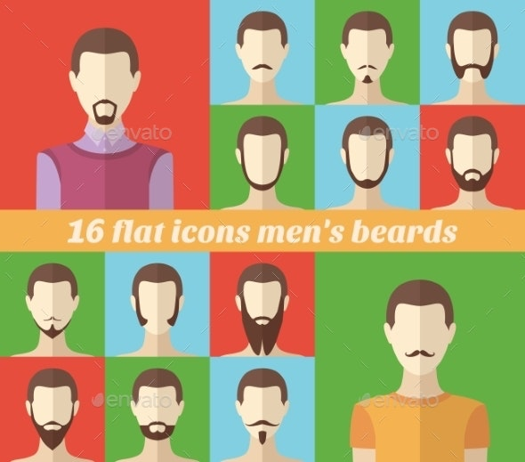 Set of Men's Beards and Mustaches - People Characters