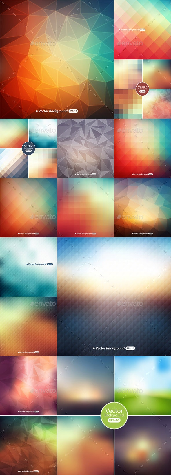Abstract Colorful Polygonal Background - Vectors