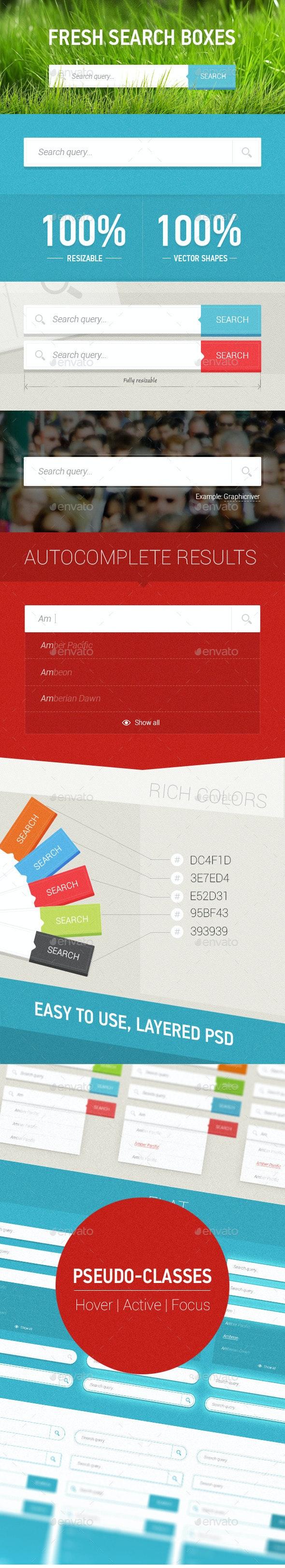 Fresh Search Boxes - User Interfaces Web Elements