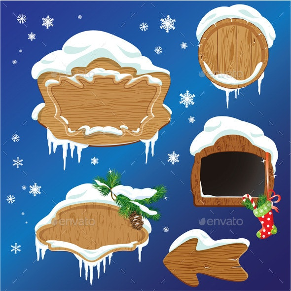 Set of Wooden Frames  - Seasons/Holidays Conceptual