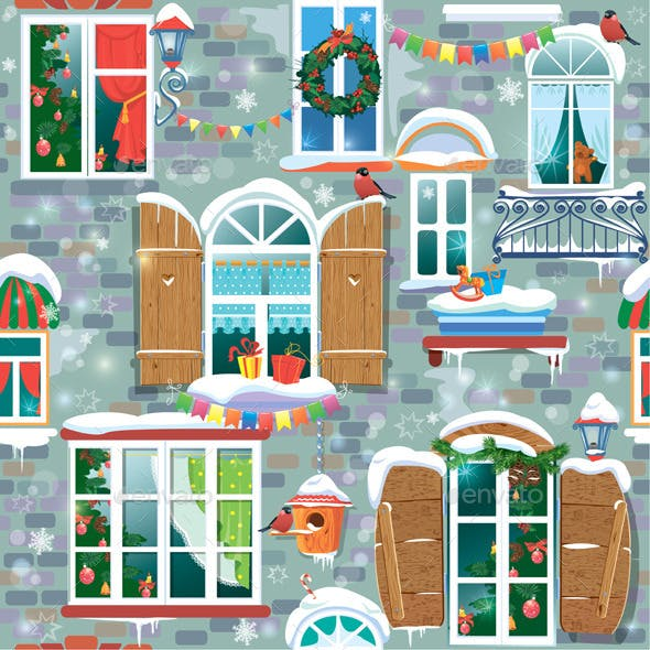 Seamless Pattern with Decorative Windows