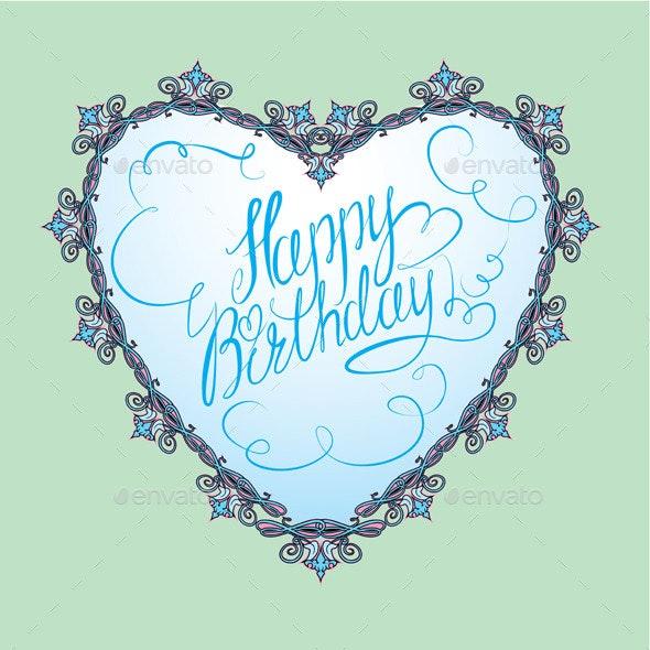 Vintage Ornamental Heart Shape  - Birthdays Seasons/Holidays