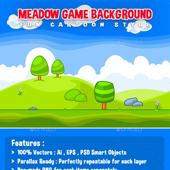 Meadow Game Background - Fun Cartoon Style