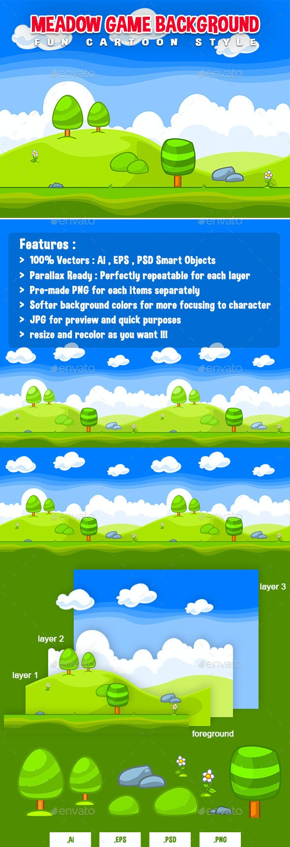 Meadow Game Background - Fun Cartoon Style - Backgrounds Game Assets