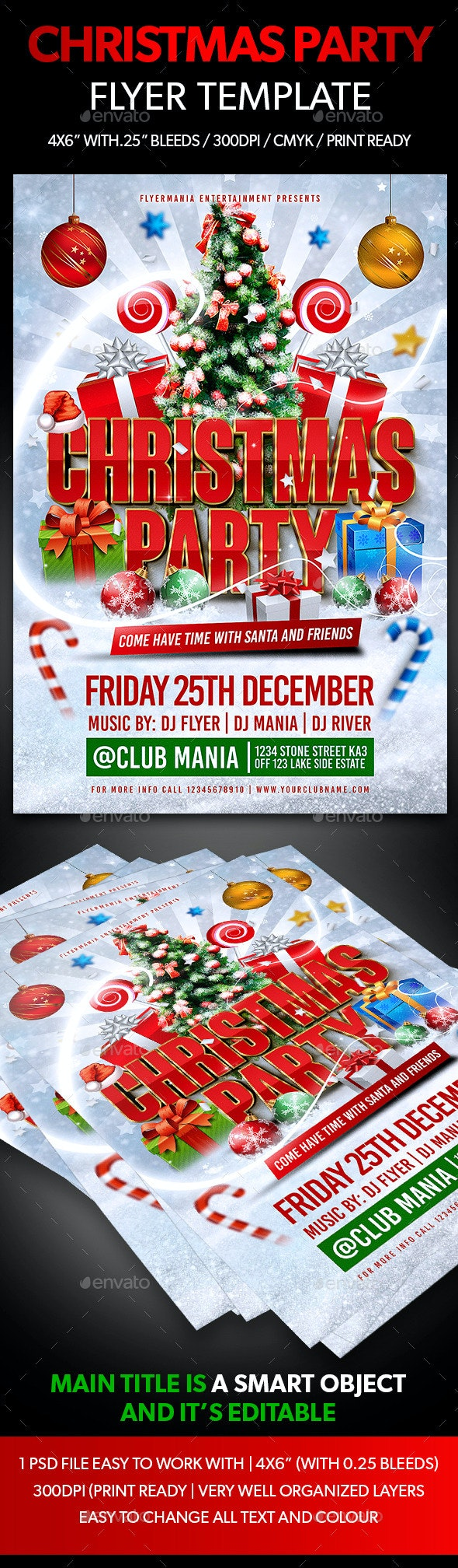 Christmas Party Flyer Template - Holidays Events