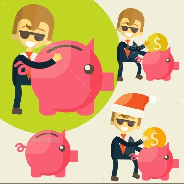 Businessman Saves Money in Piggy Bank - Concepts Business