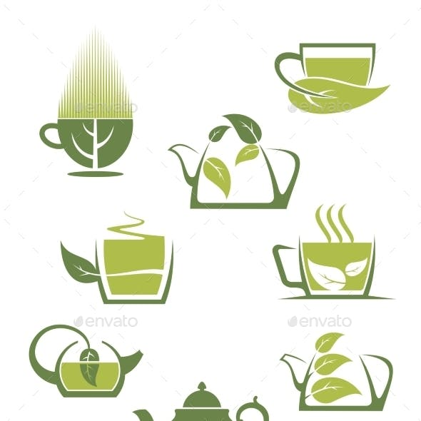 Green or Herbal Tea Icons