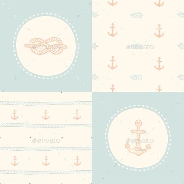 Retro Anchor Pattern Set.  - Valentines Seasons/Holidays