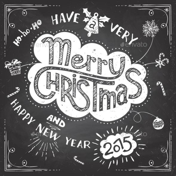 Merry Christmas Doodle Chalkboard - Christmas Seasons/Holidays