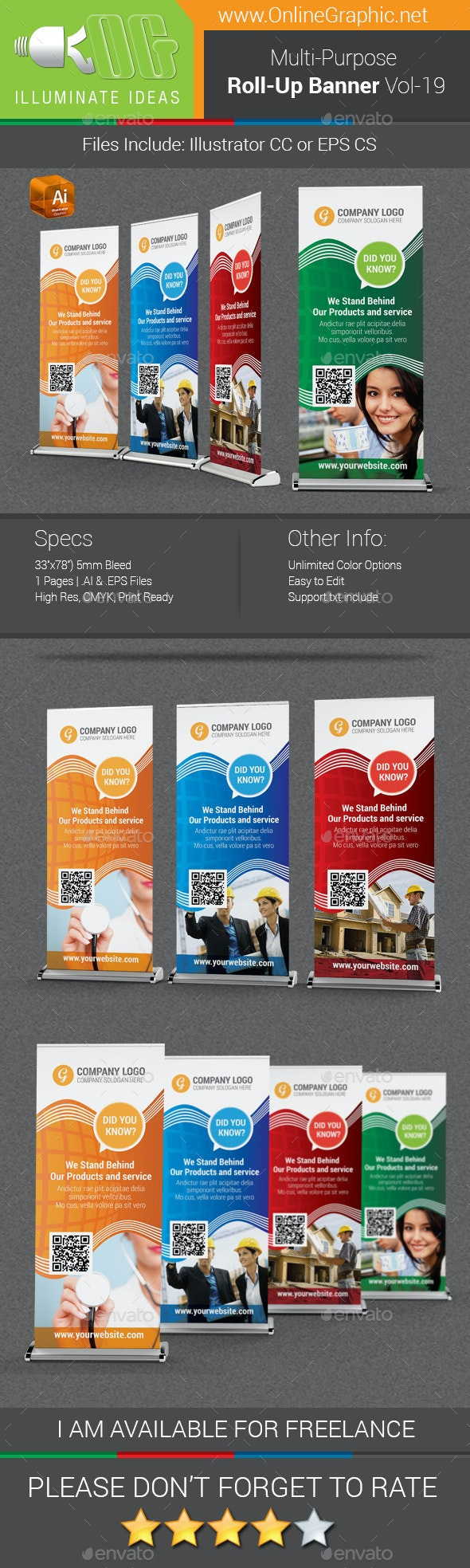 Multipurpose Business Roll-Up Banner Vol-19 - Signage Print Templates