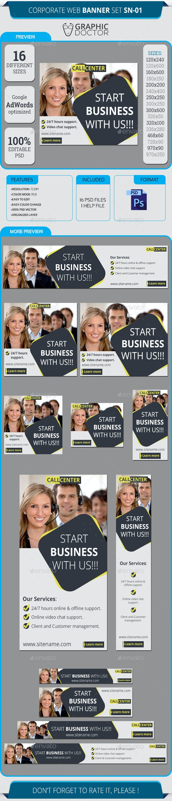 Corporate Web Banner Set SN-01 - Banners & Ads Web Elements