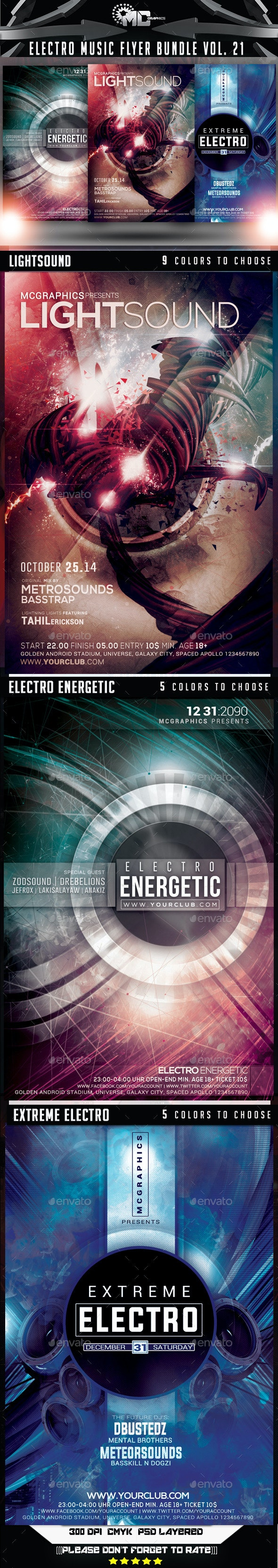 Electro Music Flyer Bundle Vol. 21 - Events Flyers