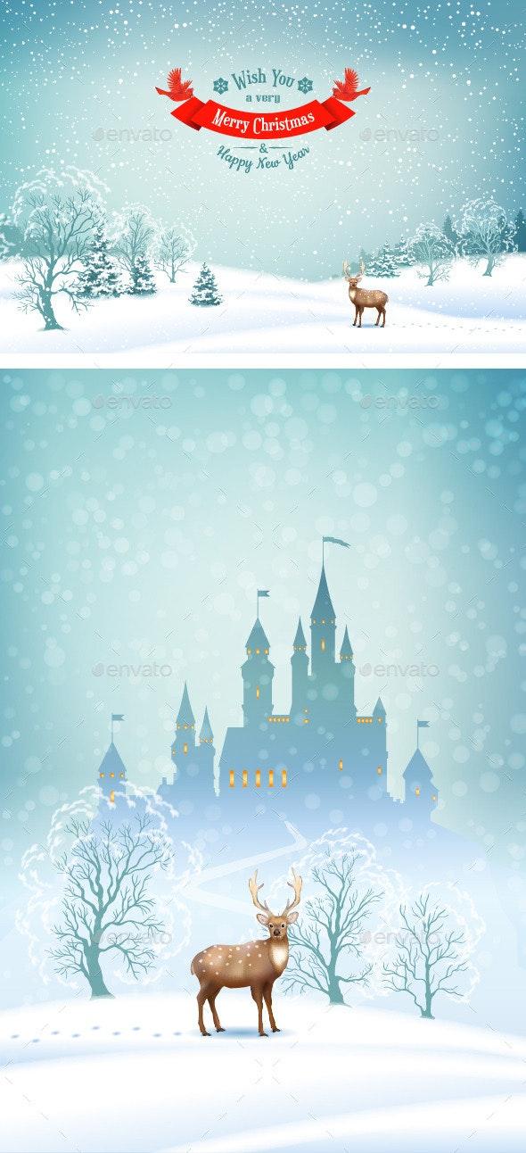 Winter Landscape Vector Background - Christmas Seasons/Holidays