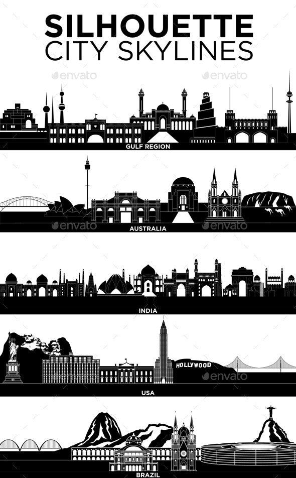 Silhouette City Skylines - Landscapes Nature