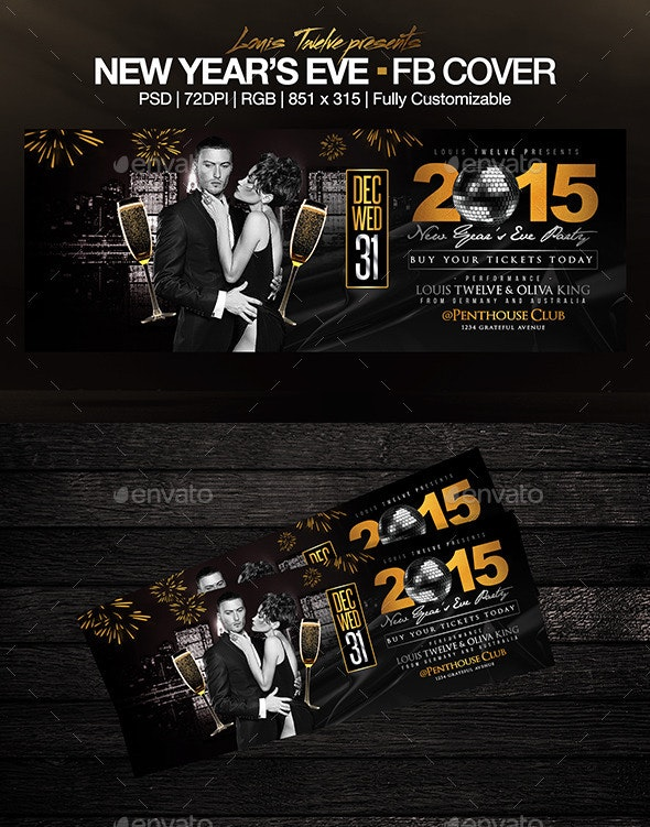 New Year's Eve Party FB Cover - Facebook Timeline Covers Social Media