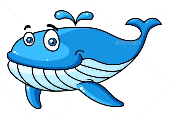 Cartoon Whale with a Water Spout - Animals Characters