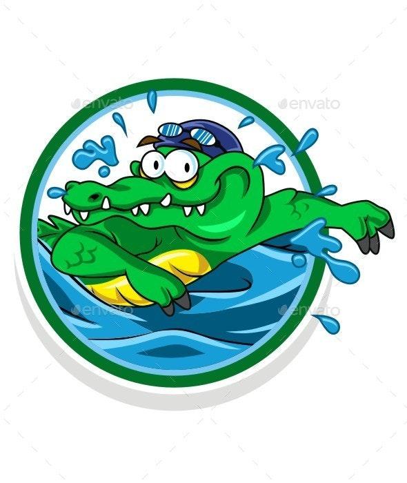 Croco Swim Character - Characters Vectors