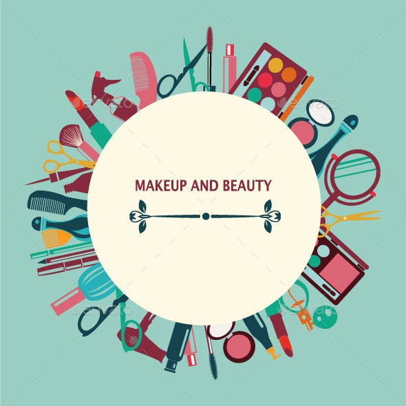 Set of Makeup and Beauty Elements Pattern