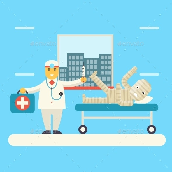 Doctor with Bandaged Patient Character - Health/Medicine Conceptual