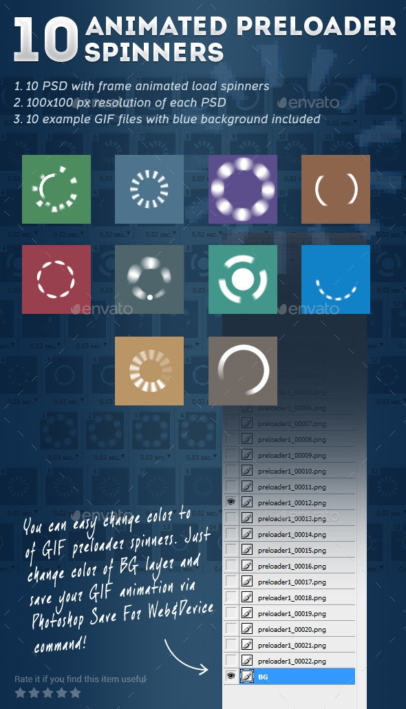 10 Animated Preloader Spinners - Miscellaneous Web Elements