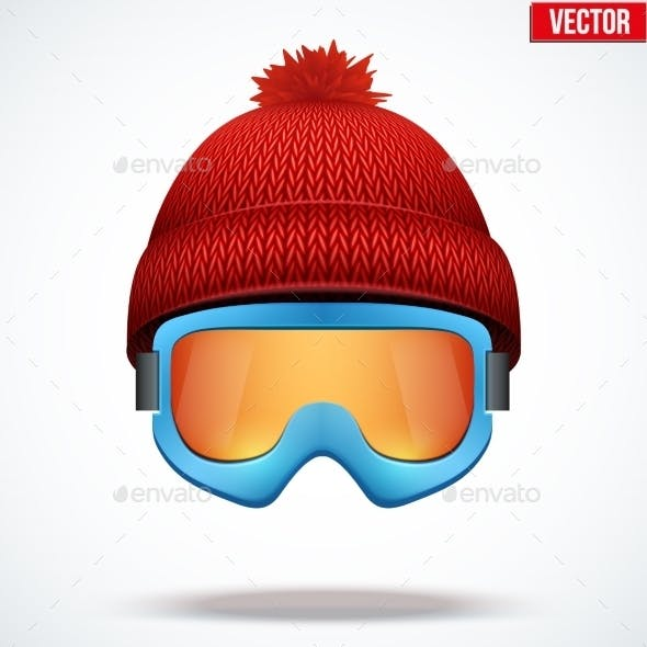 Knitted Woolen Red Cap with Snow Goggles