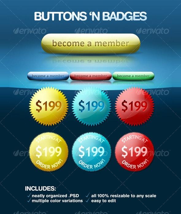 Buttons'n Badges - Buttons Web Elements