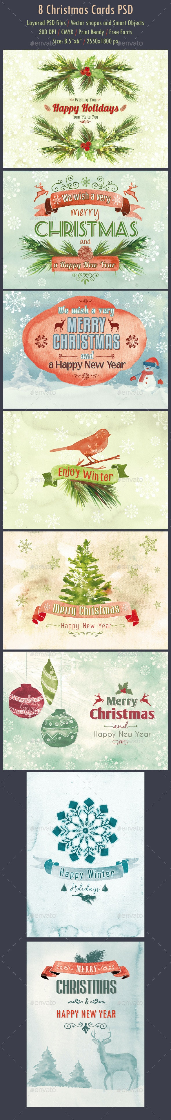 8 Watercolor Christmas Cards PSD